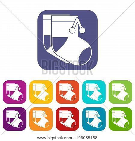 Baby socks icons set vector illustration in flat style in colors red, blue, green, and other