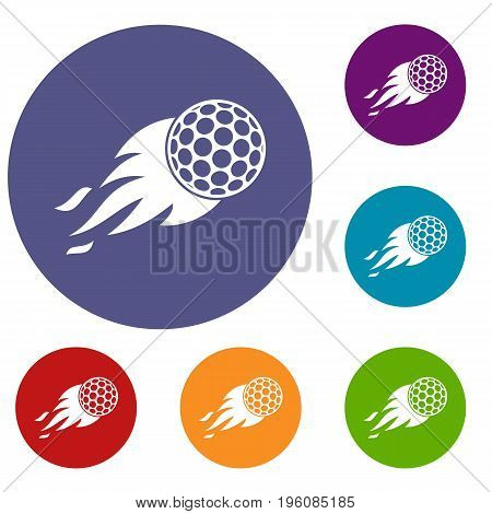 Burning golf ball icons set in flat circle red, blue and green color for web