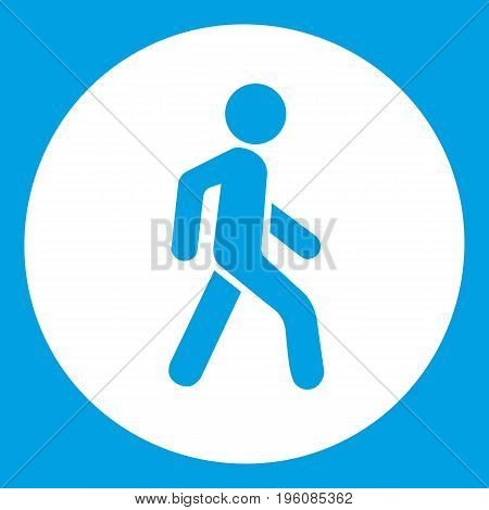 Pedestrians only road sign icon white isolated on blue background vector illustration