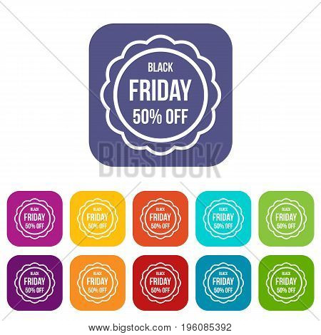Sale sticker 50 percent off icons set vector illustration in flat style in colors red, blue, green, and other
