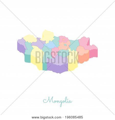 Mongolia Region Map: Colorful Isometric Top View. Detailed Map Of Mongolia Regions. Vector Illustrat