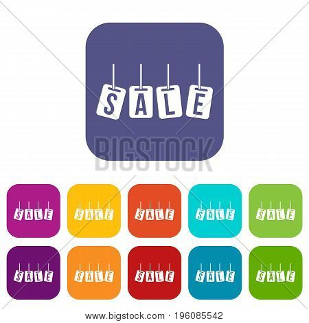 Hanging sales tags icons set vector illustration in flat style in colors red, blue, green, and other