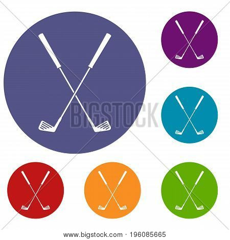 Two golf clubs icons set in flat circle red, blue and green color for web
