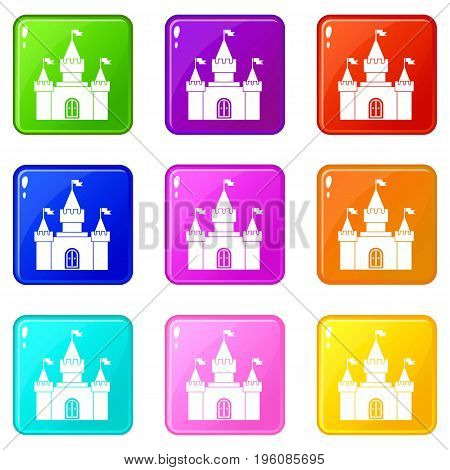 Fortress icons of 9 color set isolated vector illustration