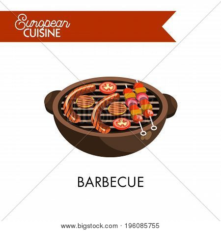 Barbecue from European cuisine. Tasty sausages, round cutlets, fresh tomatoes and meat with vegetables on skewer lay on portable grill with handles isolated vector illustration on white background.