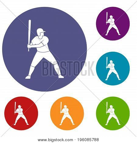 Baseball player with bat icons set in flat circle red, blue and green color for web