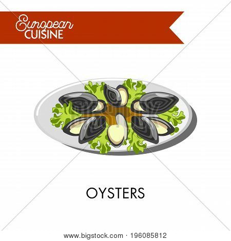 Extotic oysters with open shells and salad leaves from European cuisine. Fresh seafood with lemon juice and lettuce vector illustration on white background. Unusual dish simple in preparation.