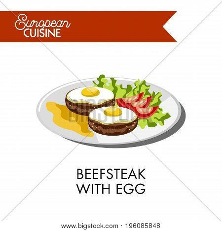 Beefsteak with fried egg on top, tomatoes laid on salad leaf and mustard sauce from European cuisine. Round meat cutlet made of beef with fresh vegetables vector illustration on white background.