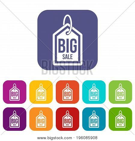 Big sale tag icons set vector illustration in flat style in colors red, blue, green, and other