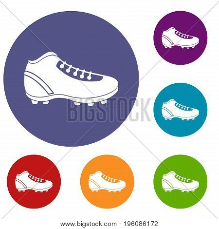 Baseball cleat icons set in flat circle red, blue and green color for web