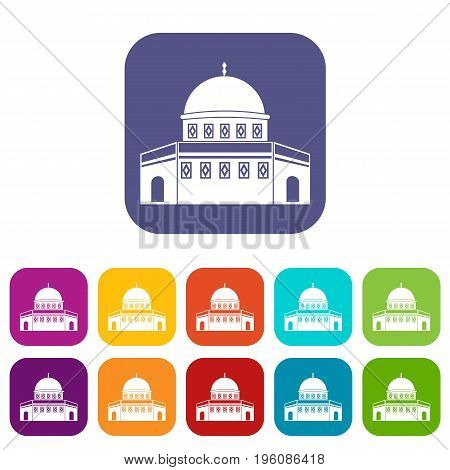 Dome of the Rock on the Temple Mount icons set vector illustration in flat style in colors red, blue, green, and other