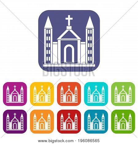 Christian catholic church building icons set vector illustration in flat style in colors red, blue, green, and other