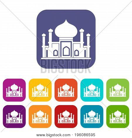 Mosque icons set vector illustration in flat style in colors red, blue, green, and other