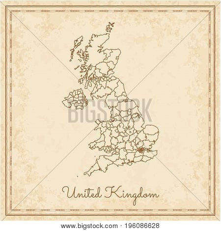 United Kingdom Region Map: Stilyzed Old Pirate Parchment Imitation. Detailed Map Of United Kingdom R