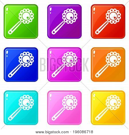 Baby rattle icons of 9 color set isolated vector illustration