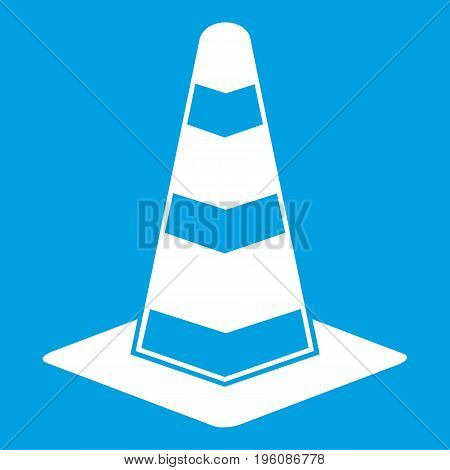 Traffic cone icon white isolated on blue background vector illustration