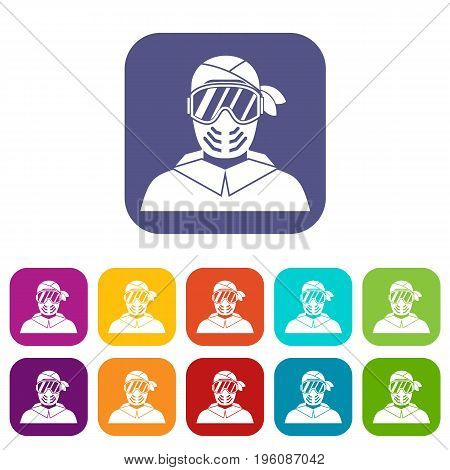 Paintball player wearing protective mask icons set vector illustration in flat style in colors red, blue, green, and other