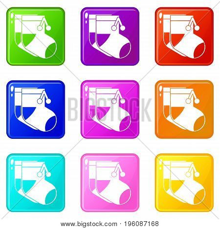 Baby socks icons of 9 color set isolated vector illustration