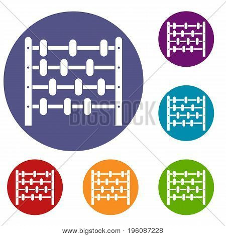 Children abacus icons set in flat circle red, blue and green color for web