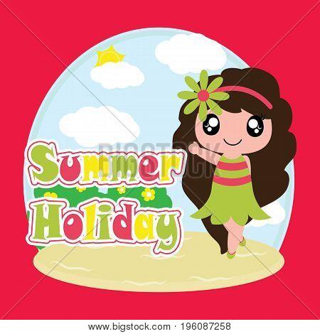 Cute girl on summer holiday vector cartoon, summer postcard, wallpaper, and greeting card, T-shirt design for kids