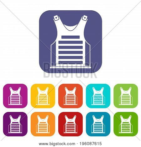Paintball vest icons set vector illustration in flat style in colors red, blue, green, and other