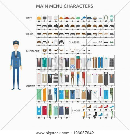 Character Creation Pilot   set of vector character illustration use for human, profession, business, marketing and much more.The set can be used for several purposes like: websites, print templates, presentation templates, and promotional materials.