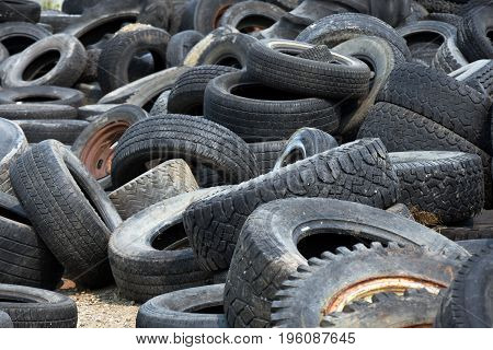 An image of a large pile of used tires.