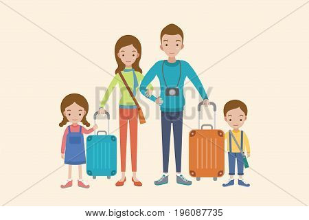 Family vacation. Family people travelling. Family vacation with children and suitcases vector illustration