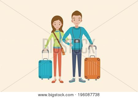 man and woman traveling together. Flat design.