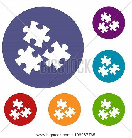 Puzzle icons set in flat circle red, blue and green color for web