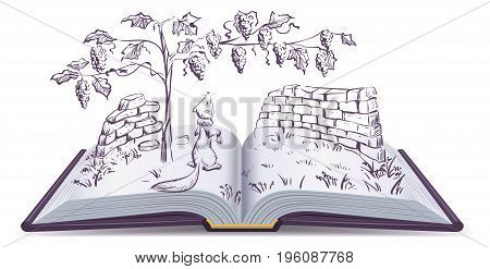 Fox and grapes. Open book fable illustration. Vector drawing