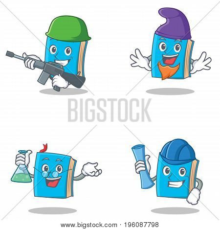 Set of blue book character with army elf professor architect vector illustration