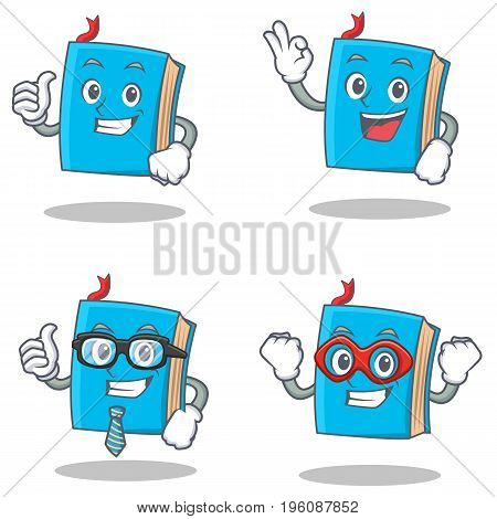 Set of blue book character with proud okay businessman hero vector illustration