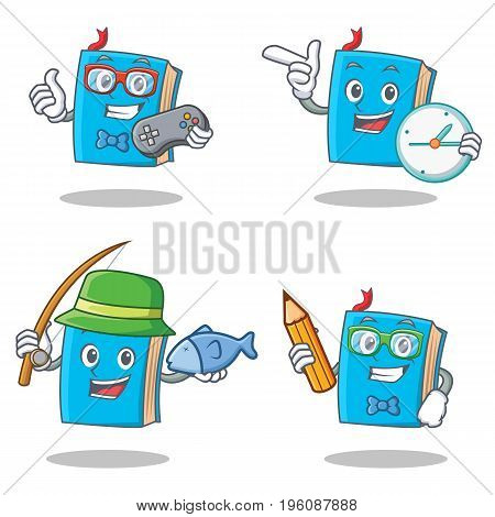 Set of blue book character with gamer clock fishing student vector illustration
