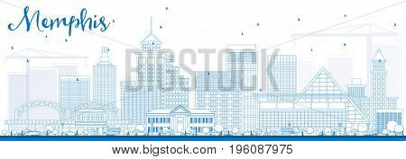 Outline Memphis Skyline with Blue Buildings. Business Travel and Tourism Concept with Historic Architecture. Image for Presentation Banner Placard and Web Site.