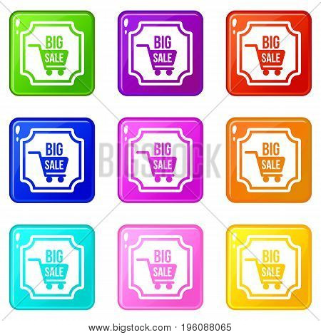 Big sale sticker icons of 9 color set isolated vector illustration