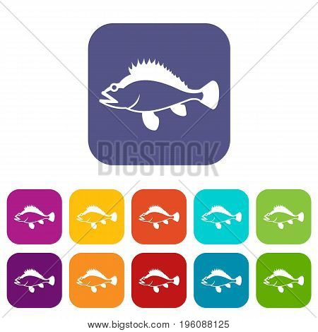 Rose fish, Sebastes norvegicus icons set vector illustration in flat style in colors red, blue, green, and other