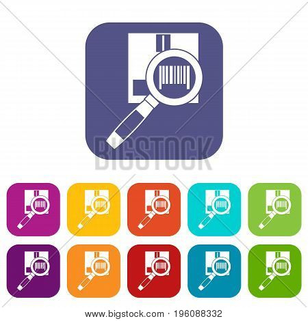 Magnifier and diskette icons set vector illustration in flat style in colors red, blue, green, and other