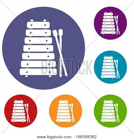 Xylophone and sticks icons set in flat circle red, blue and green color for web