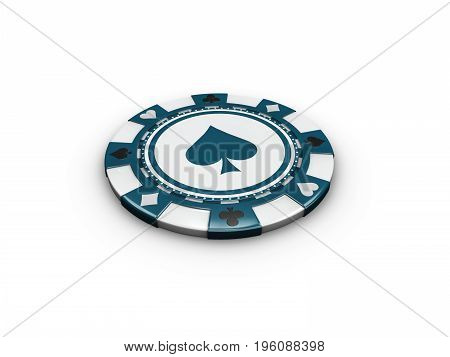 3D Illustration Of Single Blue Casino Chip Isolated On White Background.