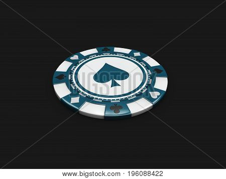 Single Blue Casino Chip With Spade Signes Isolated Balck Background. 3D Illustration