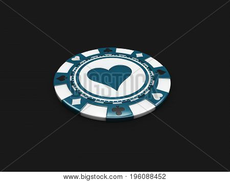 Casino Chip With Hearts Signes Isolated Balck Background. 3D Illustration