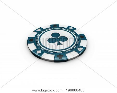 3D Illustration Of Blue Casino Chip Isolated On White Background.