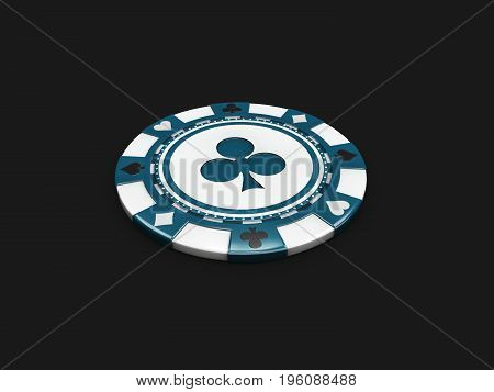 Blue Casino Chip With Clubs Signes Isolated Balck Background. 3D Illustration
