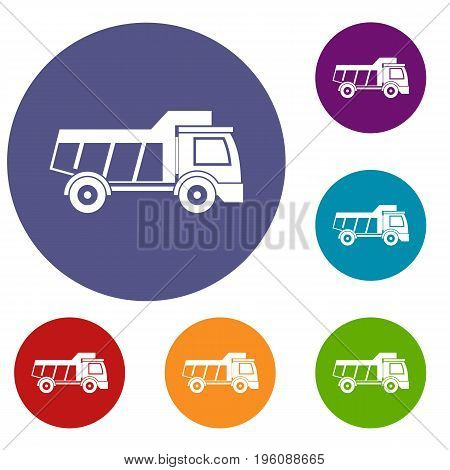 Toy truck icons set in flat circle red, blue and green color for web