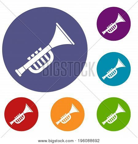 Trumpet toy icons set in flat circle red, blue and green color for web