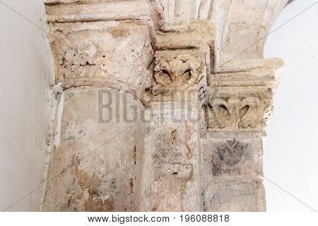 Jerusalem, Israel, July 14, 2016 : Fragment of the column with the stamp of the architect in the Room of the Last Supper in Jerusalem Israel.