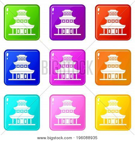 Buddhist temple icons of 9 color set isolated vector illustration