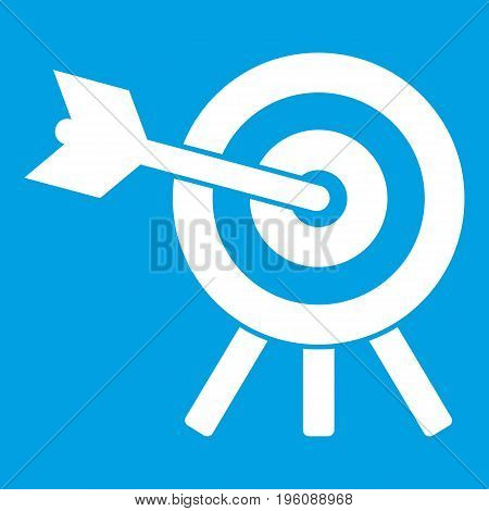Arrow hit the target icon white isolated on blue background vector illustration