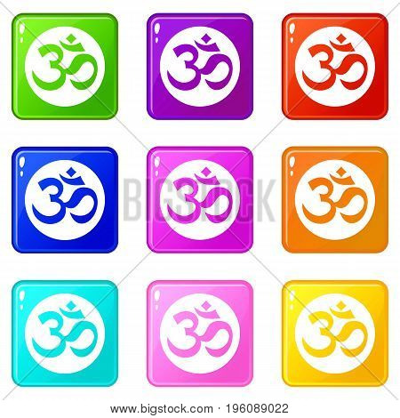 Symbol Aum icons of 9 color set isolated vector illustration